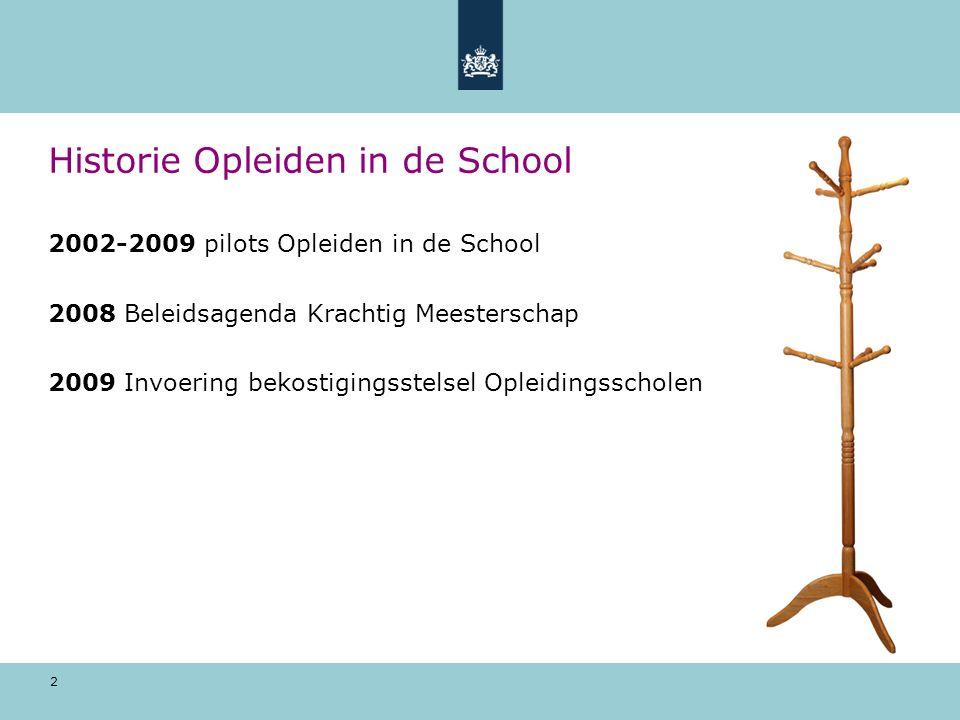 2 Historie Opleiden in de School 2002-2009 pilots Opleiden in de School 2008 Beleidsagenda Krachtig Meesterschap 2009 Invoering bekostigingsstelsel Op