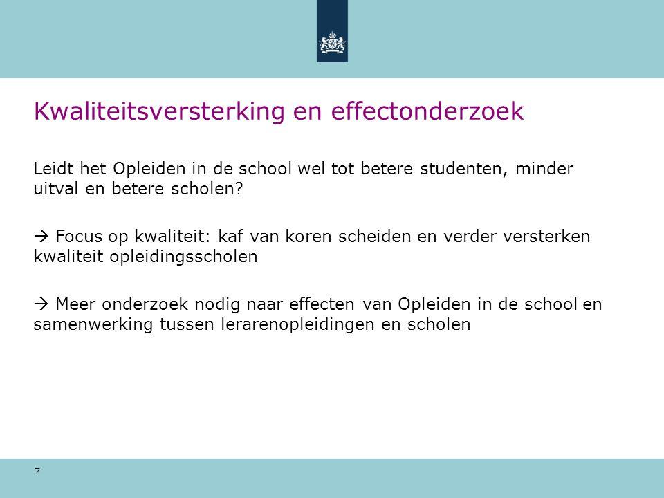 7 Kwaliteitsversterking en effectonderzoek Leidt het Opleiden in de school wel tot betere studenten, minder uitval en betere scholen?  Focus op kwali