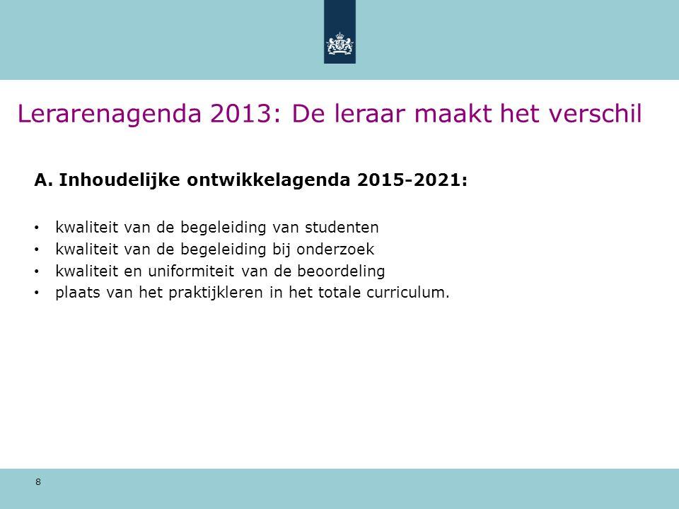 8 Lerarenagenda 2013: De leraar maakt het verschil A. Inhoudelijke ontwikkelagenda 2015-2021: kwaliteit van de begeleiding van studenten kwaliteit van
