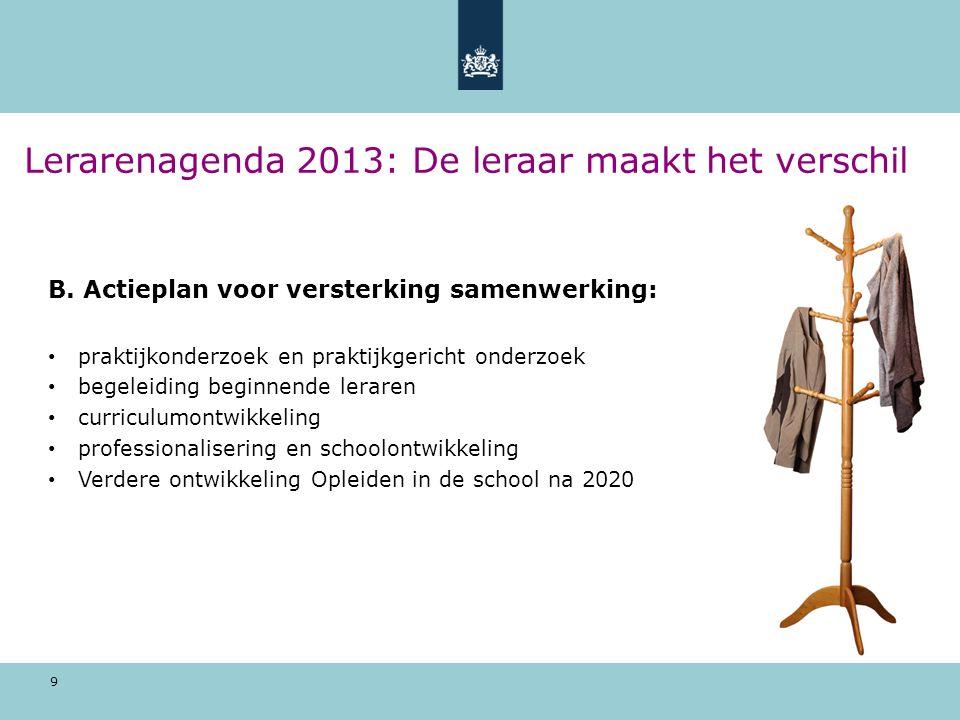 9 Lerarenagenda 2013: De leraar maakt het verschil B. Actieplan voor versterking samenwerking: praktijkonderzoek en praktijkgericht onderzoek begeleid