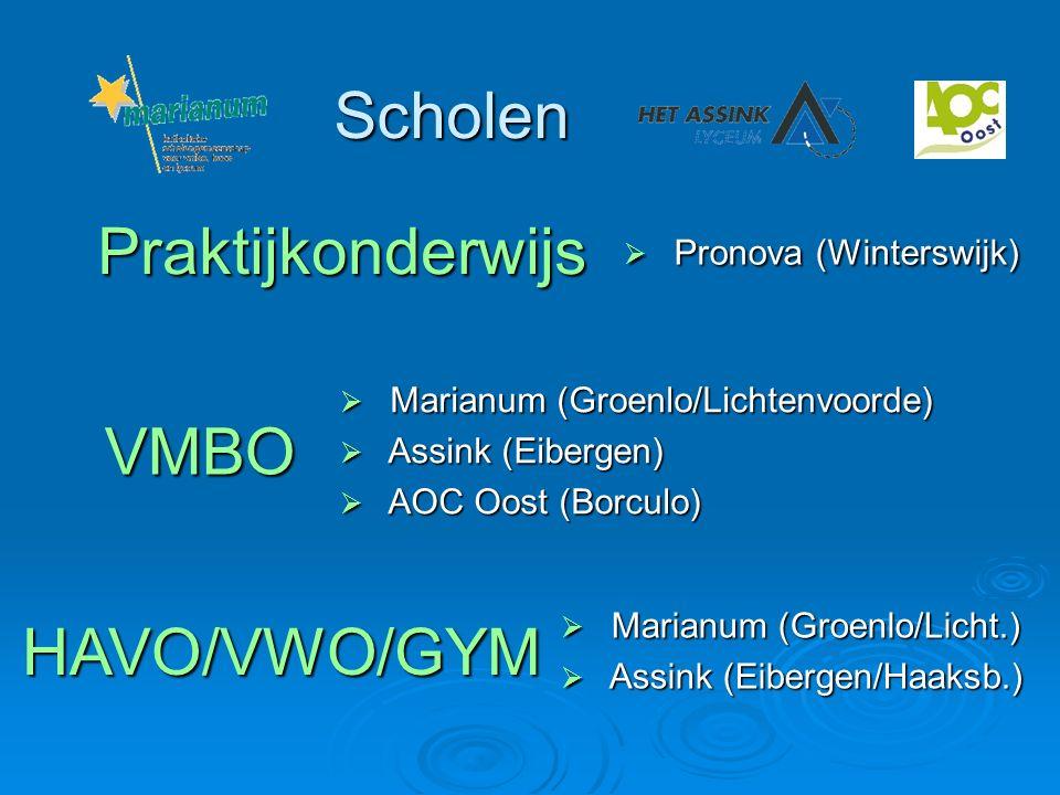 Scholen  Marianum (Groenlo/Lichtenvoorde)  Assink (Eibergen)  AOC Oost (Borculo) VMBO HAVO/VWO/GYM Praktijkonderwijs  Pronova (Winterswijk)  Mari