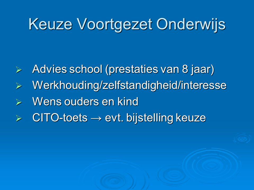 Keuze Voortgezet Onderwijs  Advies school (prestaties van 8 jaar)  Werkhouding/zelfstandigheid/interesse  Wens ouders en kind  CITO-toets → evt. b