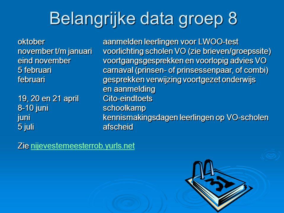 Belangrijke data groep 8 oktoberaanmelden leerlingen voor LWOO-test november t/m januarivoorlichting scholen VO (zie brieven/groepssite) eind november