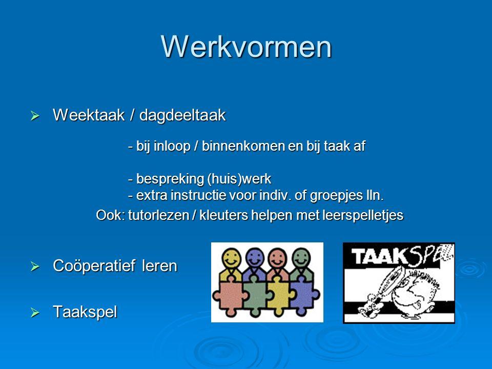 Werkvormen  Weektaak / dagdeeltaak - bij inloop / binnenkomen en bij taak af - bij inloop / binnenkomen en bij taak af - bespreking (huis)werk - extr