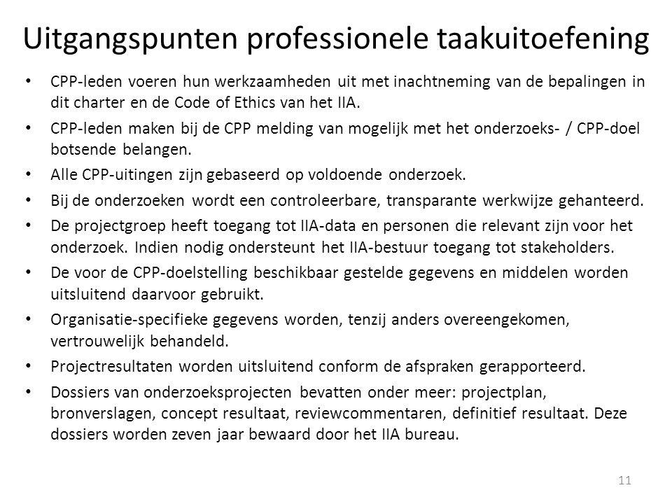 Uitgangspunten professionele taakuitoefening CPP-leden voeren hun werkzaamheden uit met inachtneming van de bepalingen in dit charter en de Code of Ethics van het IIA.