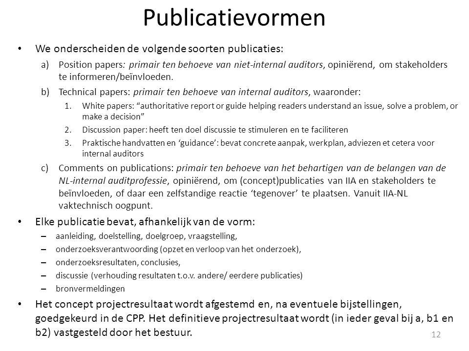 Publicatievormen We onderscheiden de volgende soorten publicaties: a)Position papers: primair ten behoeve van niet-internal auditors, opiniërend, om stakeholders te informeren/beïnvloeden.