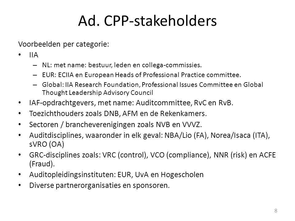Ad. CPP-stakeholders Voorbeelden per categorie: IIA – NL: met name: bestuur, leden en collega-commissies. – EUR: ECIIA en European Heads of Profession