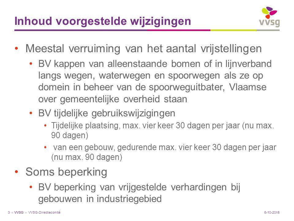 VVSG - Inhoud voorgestelde wijzigingen Meestal verruiming van het aantal vrijstellingen BV kappen van alleenstaande bomen of in lijnverband langs wegen, waterwegen en spoorwegen als ze op domein in beheer van de spoorweguitbater, Vlaamse over gemeentelijke overheid staan BV tijdelijke gebruikswijzigingen Tijdelijke plaatsing, max.
