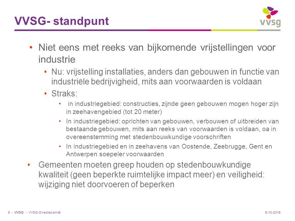 VVSG - VVSG- standpunt Niet eens met reeks van bijkomende vrijstellingen voor industrie Nu: vrijstelling installaties, anders dan gebouwen in functie