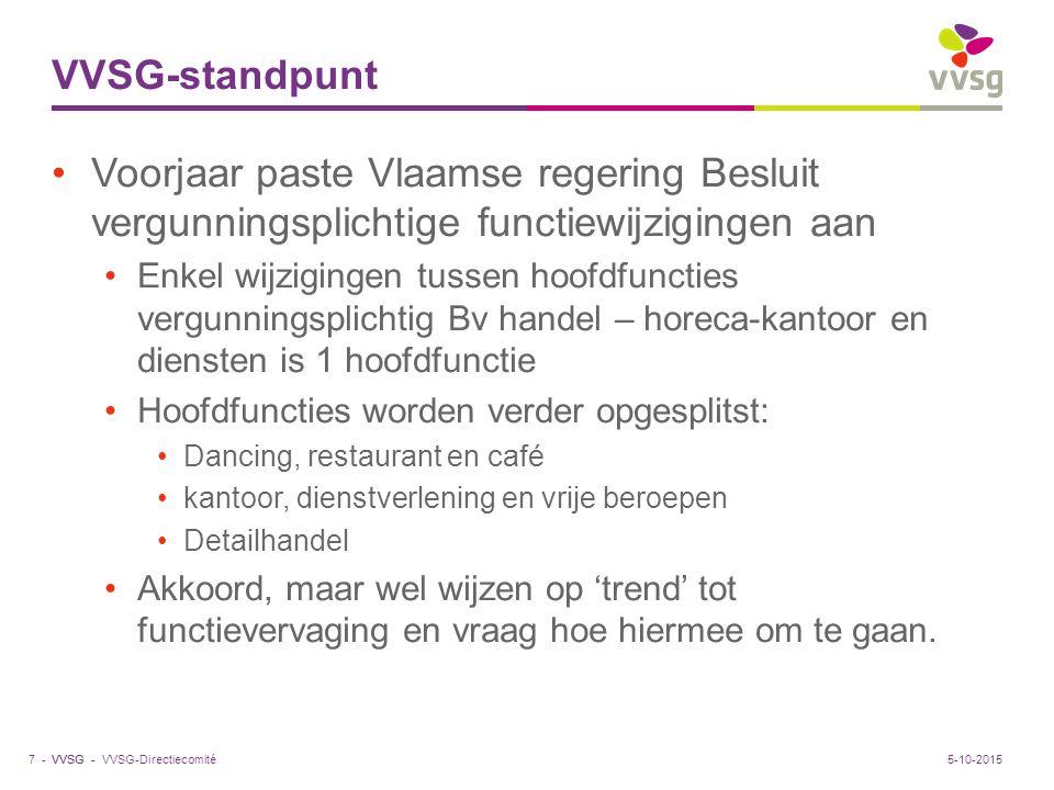 VVSG - VVSG-standpunt Voorjaar paste Vlaamse regering Besluit vergunningsplichtige functiewijzigingen aan Enkel wijzigingen tussen hoofdfuncties vergu