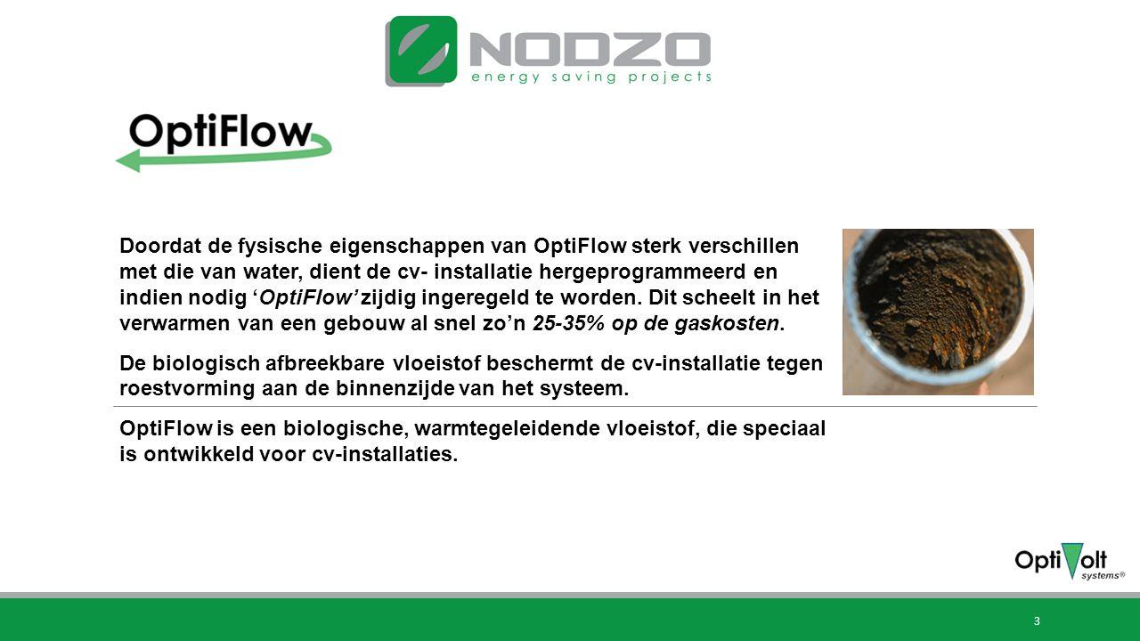 3 Hoe werkt OptiFlow? Doordat de fysische eigenschappen van OptiFlow sterk verschillen met die van water, dient de cv- installatie hergeprogrammeerd e