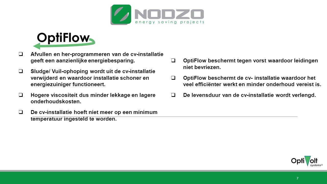 7 OptiFlow besparingen  Afvullen en her-programmeren van de cv-installatie geeft een aanzienlijke energiebesparing.  Sludge/ Vuil-ophoping wordt uit