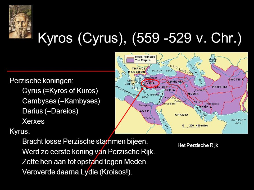 Kyros (Cyrus), (559 -529 v. Chr.) Perzische koningen: Cyrus (=Kyros of Kuros) Cambyses (=Kambyses) Darius (=Dareios) Xerxes Kyrus: Bracht losse Perzis