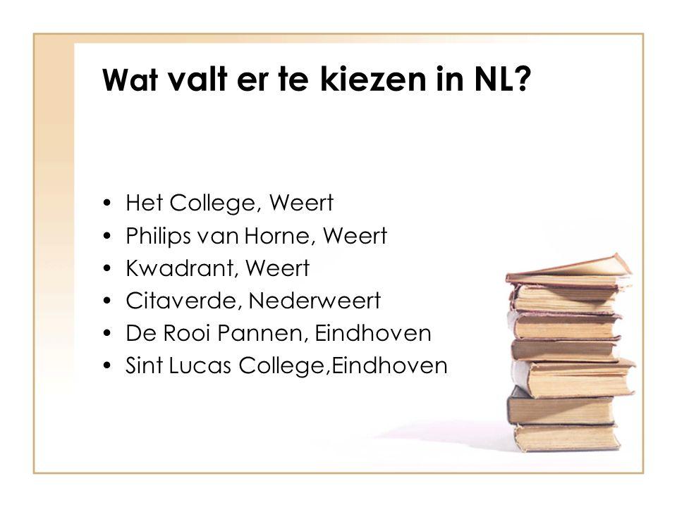 Wat valt er te kiezen in NL? Het College, Weert Philips van Horne, Weert Kwadrant, Weert Citaverde, Nederweert De Rooi Pannen, Eindhoven Sint Lucas Co