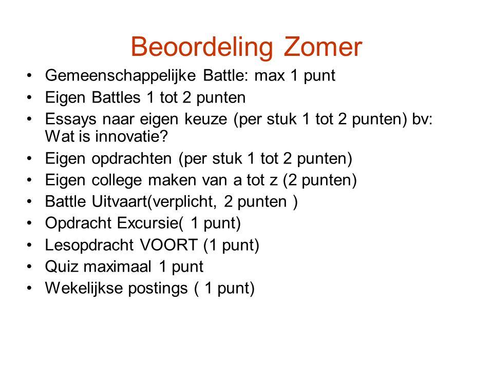 Beoordeling Zomer Gemeenschappelijke Battle: max 1 punt Eigen Battles 1 tot 2 punten Essays naar eigen keuze (per stuk 1 tot 2 punten) bv: Wat is innovatie.