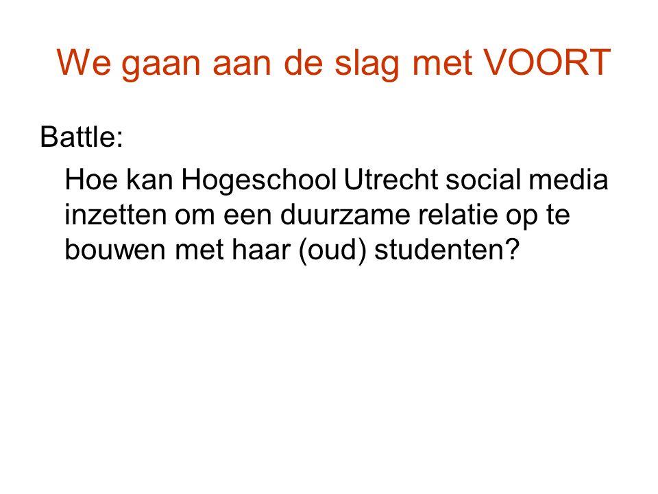 We gaan aan de slag met VOORT Battle: Hoe kan Hogeschool Utrecht social media inzetten om een duurzame relatie op te bouwen met haar (oud) studenten