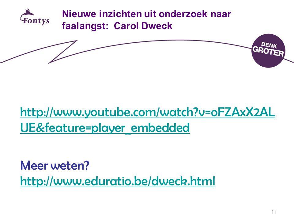 Nieuwe inzichten uit onderzoek naar faalangst: Carol Dweck http://www.youtube.com/watch?v=oFZAxX2AL UE&feature=player_embedded Meer weten? http://www.