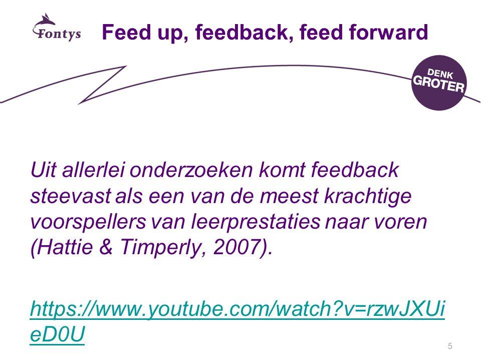 Feed up, feedback, feed forward Uit allerlei onderzoeken komt feedback steevast als een van de meest krachtige voorspellers van leerprestaties naar vo