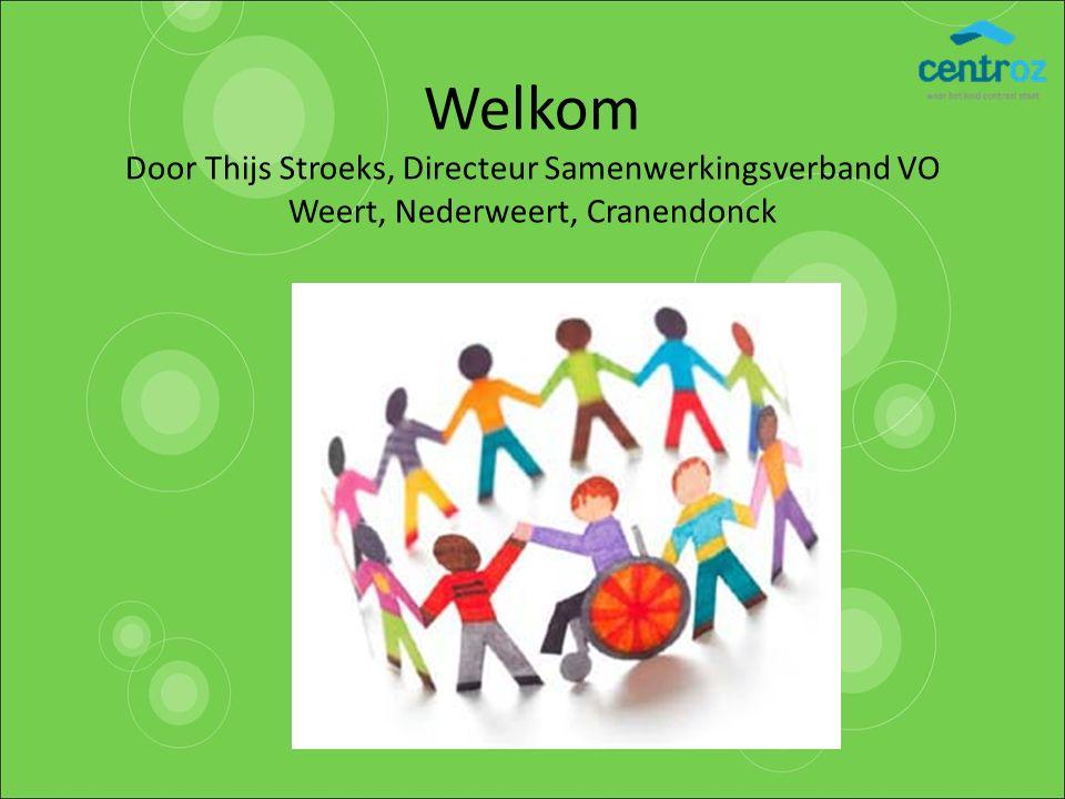 Welkom Door Thijs Stroeks, Directeur Samenwerkingsverband VO Weert, Nederweert, Cranendonck