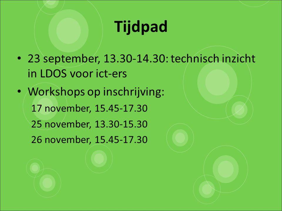 Tijdpad 23 september, 13.30-14.30: technisch inzicht in LDOS voor ict-ers Workshops op inschrijving: 17 november, 15.45-17.30 25 november, 13.30-15.30