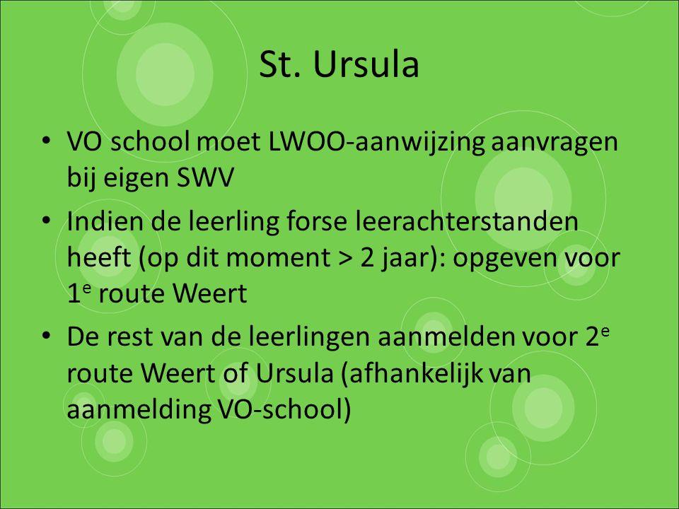 St. Ursula VO school moet LWOO-aanwijzing aanvragen bij eigen SWV Indien de leerling forse leerachterstanden heeft (op dit moment > 2 jaar): opgeven v