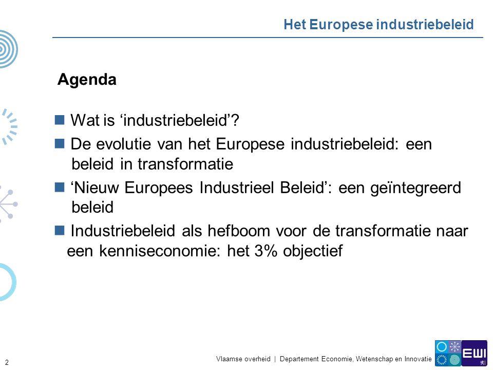 Vlaamse overheid   Departement Economie, Wetenschap en Innovatie Wat is industriebeleid Wat is 'industrieel beleid' .
