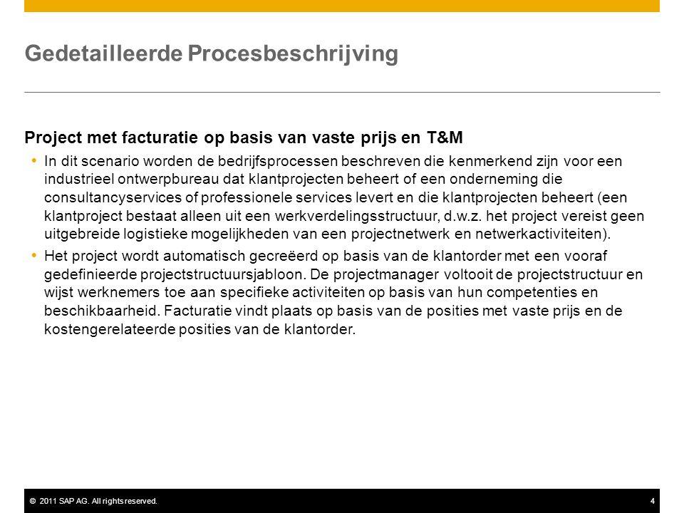 ©2011 SAP AG. All rights reserved.4 Gedetailleerde Procesbeschrijving Project met facturatie op basis van vaste prijs en T&M  In dit scenario worden