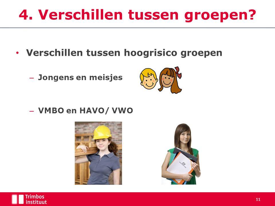 Verschillen tussen hoogrisico groepen – Jongens en meisjes – VMBO en HAVO/ VWO 11 4.