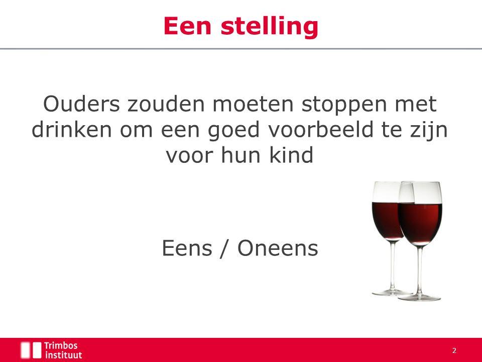 Ouders zouden moeten stoppen met drinken om een goed voorbeeld te zijn voor hun kind Eens / Oneens 2 Een stelling