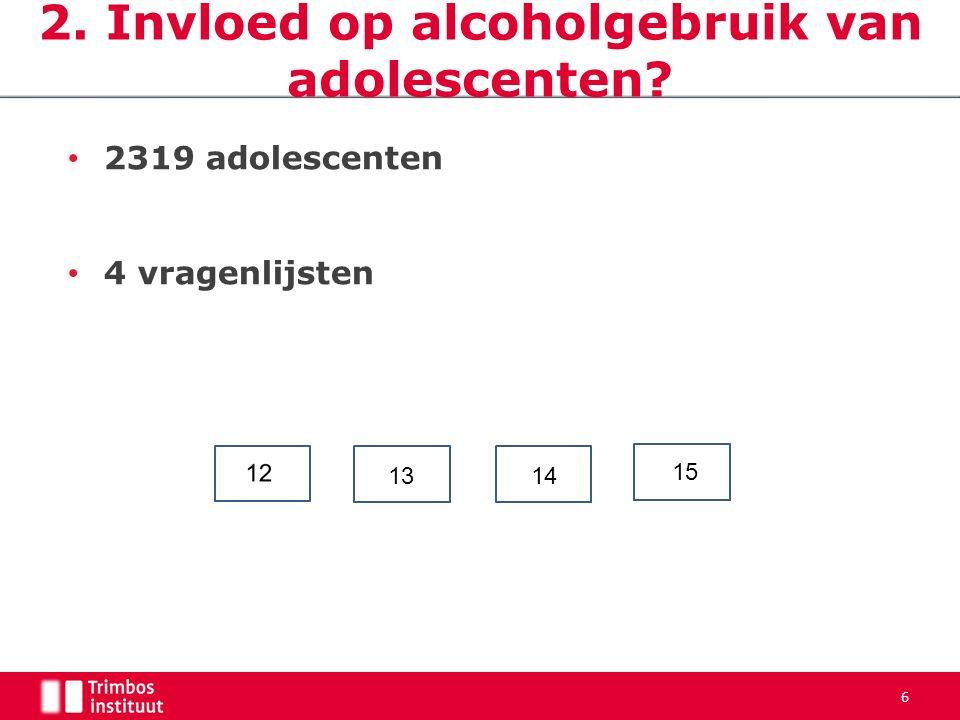 6 2. Invloed op alcoholgebruik van adolescenten 2319 adolescenten 4 vragenlijsten 15 1314