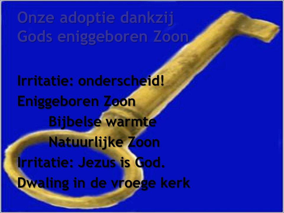 Onze adoptie dankzij Gods eniggeboren Zoon Irritatie: onderscheid.