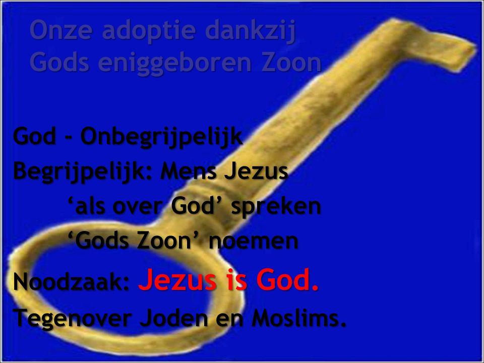 Onze adoptie dankzij Gods eniggeboren Zoon God - Onbegrijpelijk Begrijpelijk: Mens Jezus 'als over God' spreken 'Gods Zoon' noemen Noodzaak: Jezus is God.