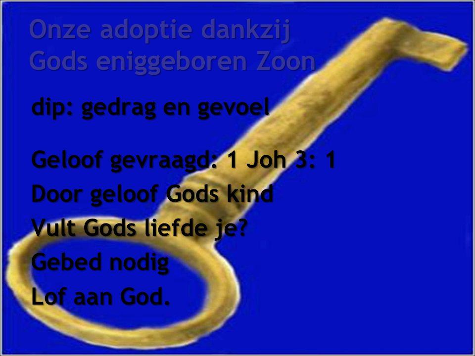 Onze adoptie dankzij Gods eniggeboren Zoon dip: gedrag en gevoel Geloof gevraagd: 1 Joh 3: 1 Door geloof Gods kind Vult Gods liefde je.