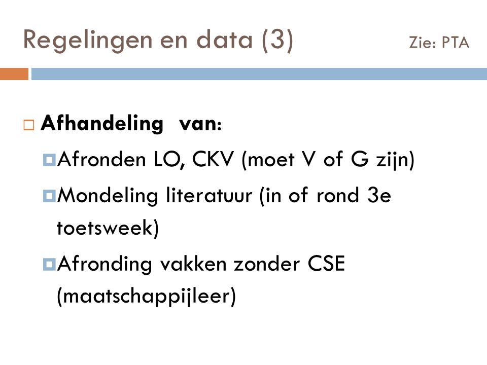  Afhandeling van:  Afronden LO, CKV (moet V of G zijn)  Mondeling literatuur (in of rond 3e toetsweek)  Afronding vakken zonder CSE (maatschappijleer) Regelingen en data (3) Zie: PTA