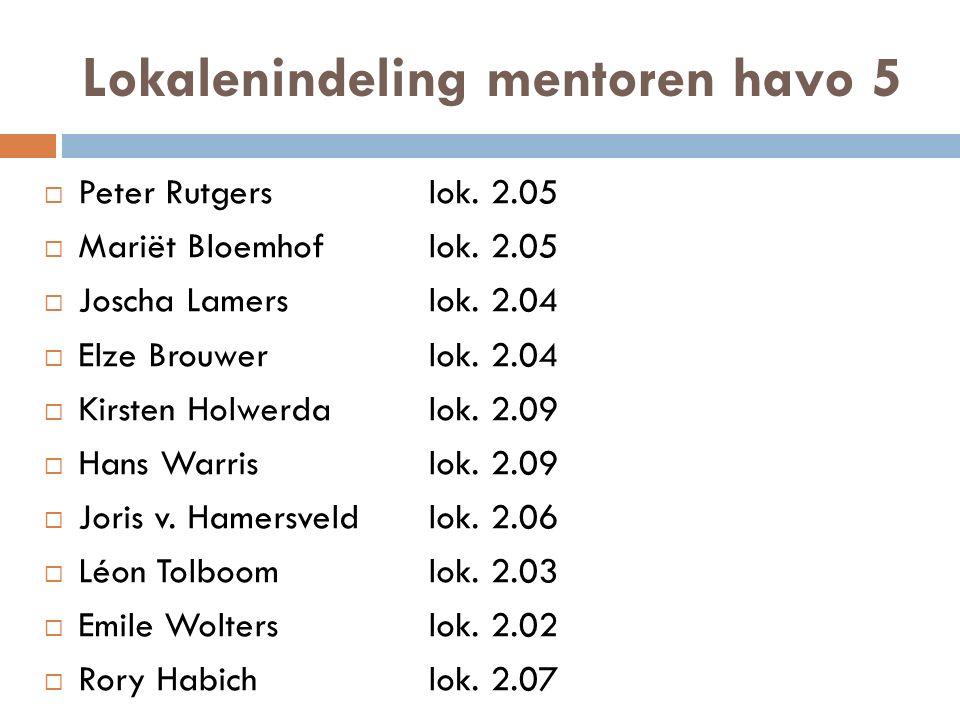 Lokalenindeling mentoren havo 5  Peter Rutgerslok. 2.05  Mariët Bloemhof lok. 2.05  Joscha Lamerslok. 2.04  Elze Brouwerlok. 2.04  Kirsten Holwer