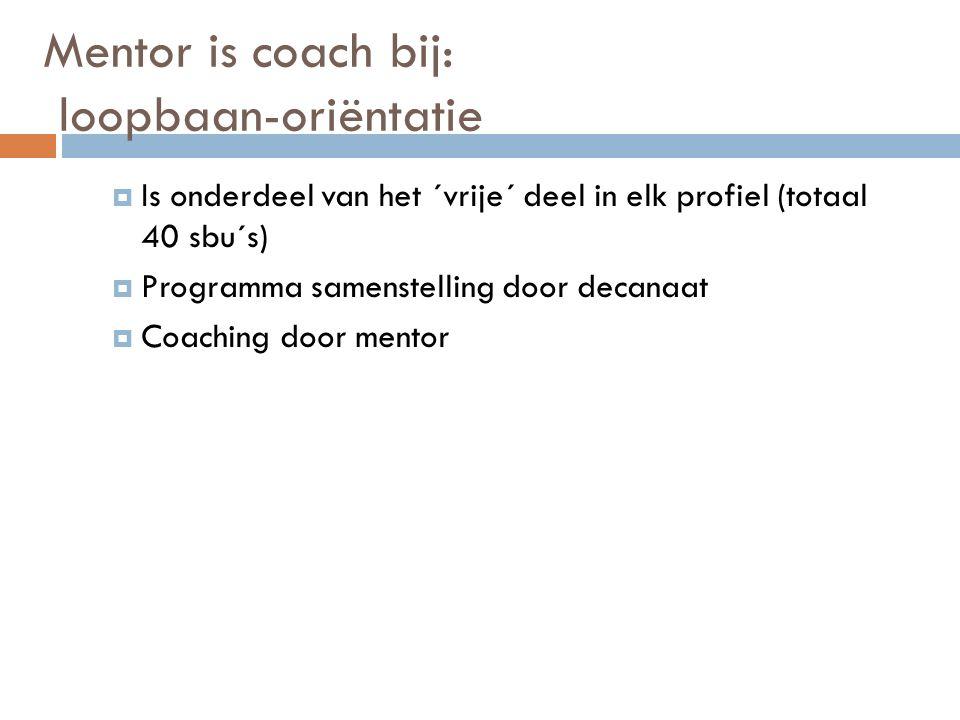 Mentor is coach bij: loopbaan-oriëntatie  Is onderdeel van het ´vrije´ deel in elk profiel (totaal 40 sbu´s)  Programma samenstelling door decanaat  Coaching door mentor