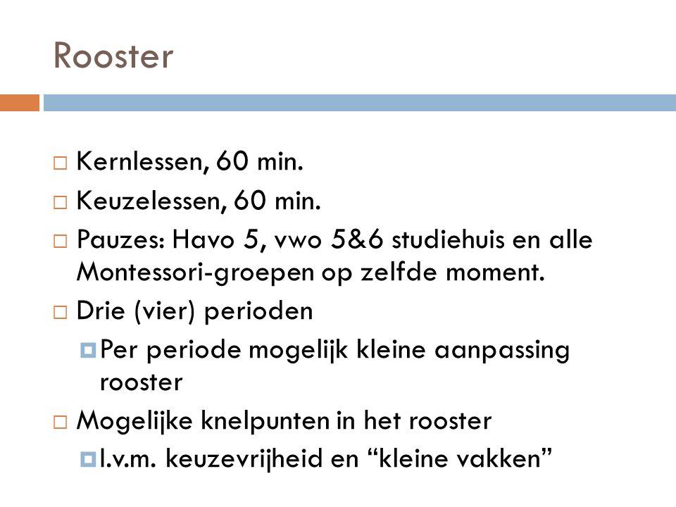 Rooster  Kernlessen, 60 min.  Keuzelessen, 60 min.  Pauzes: Havo 5, vwo 5&6 studiehuis en alle Montessori-groepen op zelfde moment.  Drie (vier) p