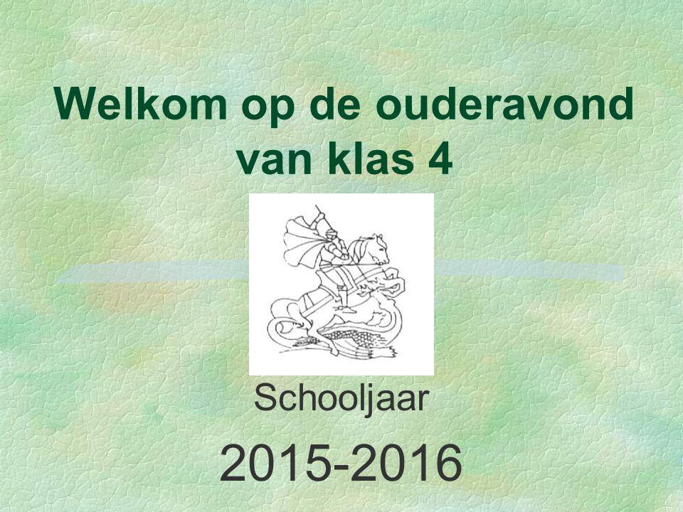 Welkom op de ouderavond van klas 4 Schooljaar 2015-2016