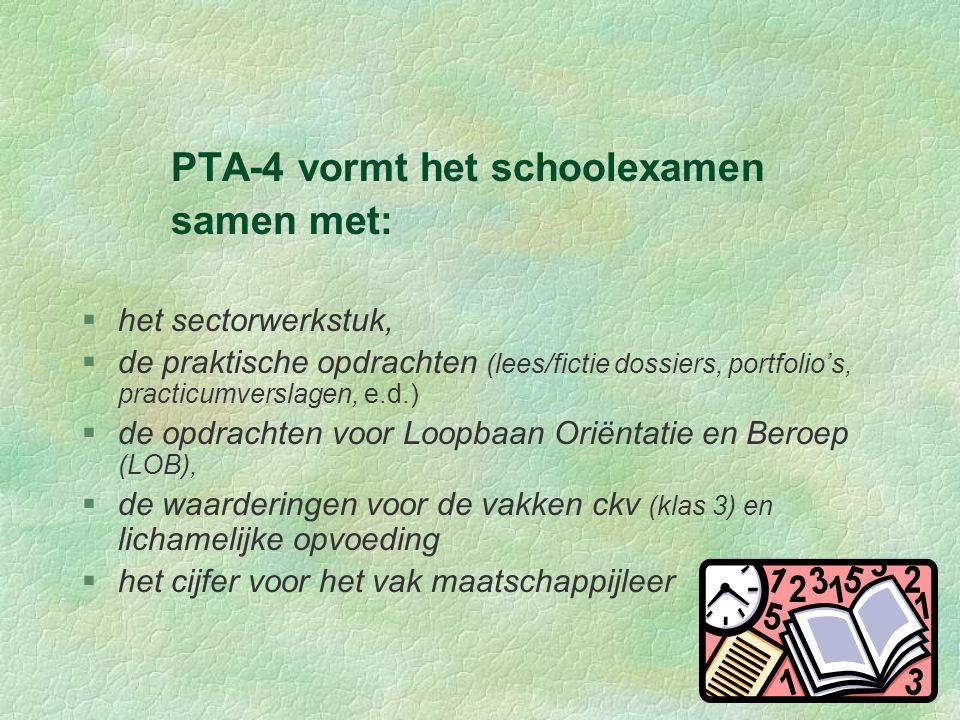 PTA-4 vormt het schoolexamen samen met: §het sectorwerkstuk, §de praktische opdrachten (lees/fictie dossiers, portfolio's, practicumverslagen, e.d.) §de opdrachten voor Loopbaan Oriëntatie en Beroep (LOB), §de waarderingen voor de vakken ckv (klas 3) en lichamelijke opvoeding §het cijfer voor het vak maatschappijleer