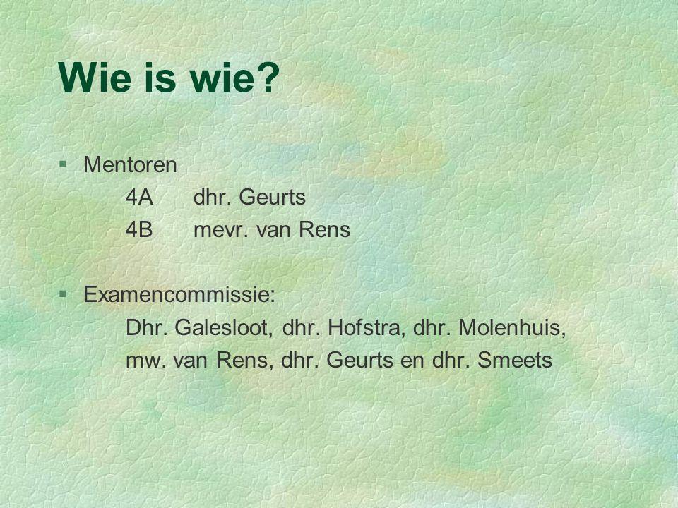 Wie is wie? §Mentoren 4Adhr. Geurts 4Bmevr. van Rens §Examencommissie: Dhr. Galesloot, dhr. Hofstra, dhr. Molenhuis, mw. van Rens, dhr. Geurts en dhr.