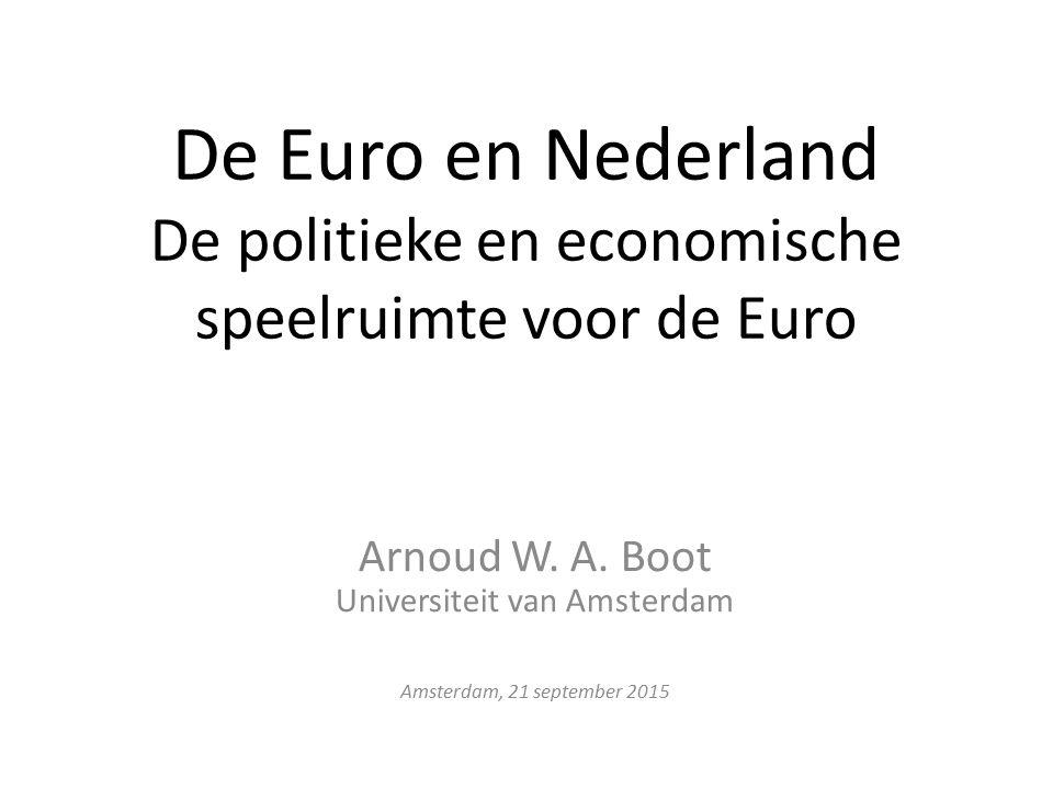 De Euro en Nederland De politieke en economische speelruimte voor de Euro Arnoud W.