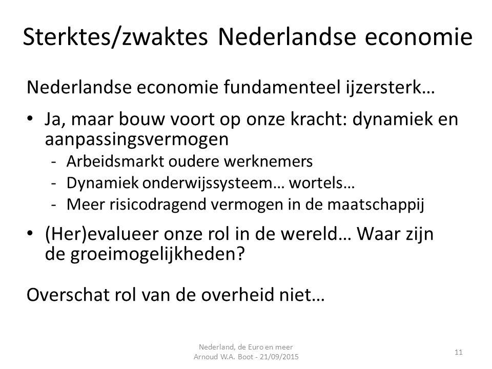 Sterktes/zwaktes Nederlandse economie Nederlandse economie fundamenteel ijzersterk… Ja, maar bouw voort op onze kracht: dynamiek en aanpassingsvermogen -Arbeidsmarkt oudere werknemers -Dynamiek onderwijssysteem… wortels… -Meer risicodragend vermogen in de maatschappij (Her)evalueer onze rol in de wereld… Waar zijn de groeimogelijkheden.
