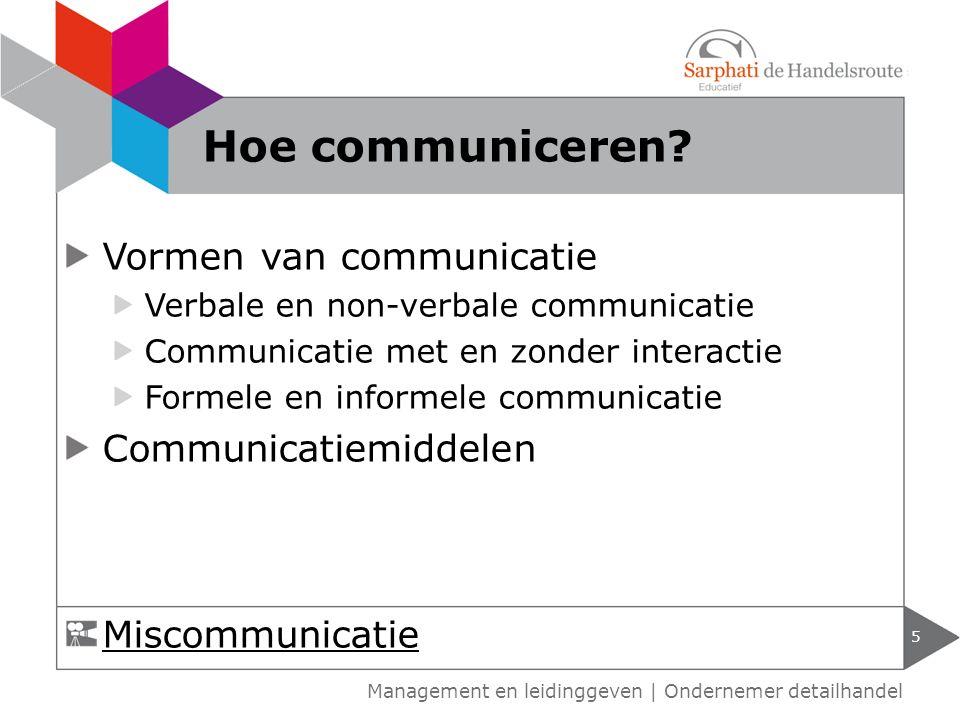 Vormen van communicatie Verbale en non-verbale communicatie Communicatie met en zonder interactie Formele en informele communicatie Communicatiemiddelen 5 Hoe communiceren.