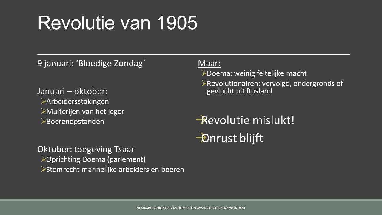 Revolutie van 1905 9 januari: 'Bloedige Zondag' Januari – oktober:  Arbeidersstakingen  Muiterijen van het leger  Boerenopstanden Oktober: toegevin