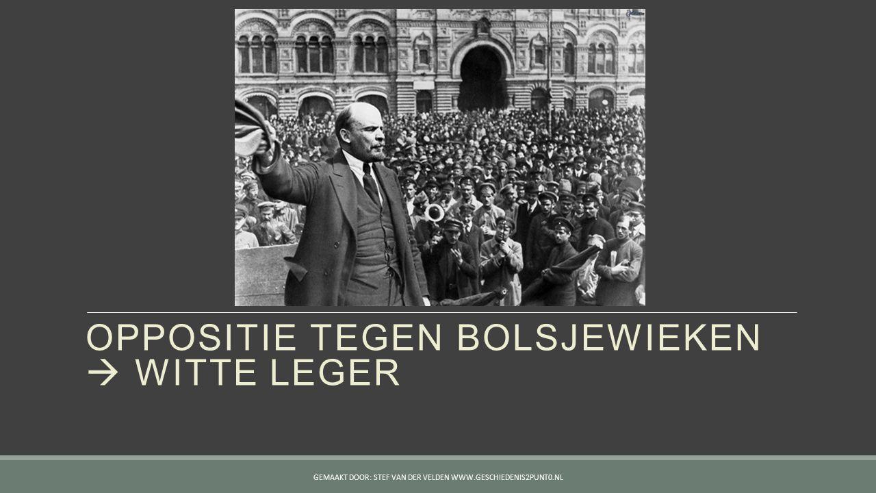 OPPOSITIE TEGEN BOLSJEWIEKEN  WITTE LEGER GEMAAKT DOOR: STEF VAN DER VELDEN WWW.GESCHIEDENIS2PUNT0.NL