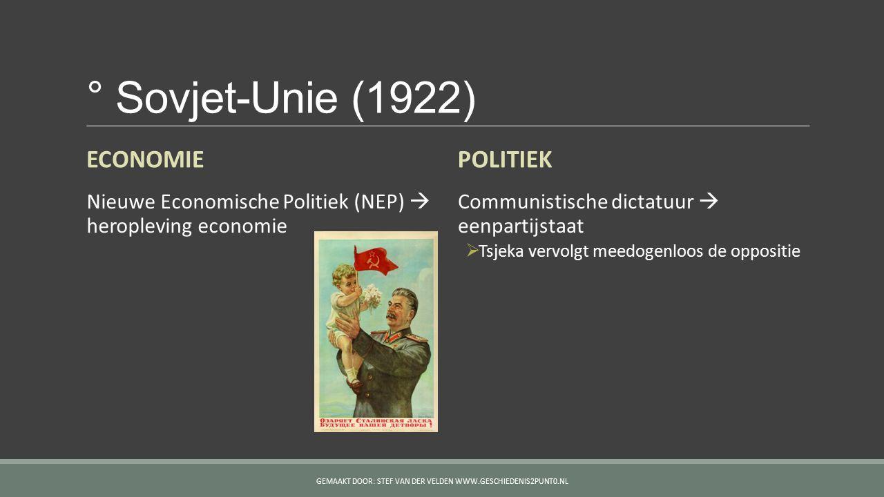° Sovjet-Unie (1922) ECONOMIE Nieuwe Economische Politiek (NEP)  heropleving economie POLITIEK Communistische dictatuur  eenpartijstaat  Tsjeka ver