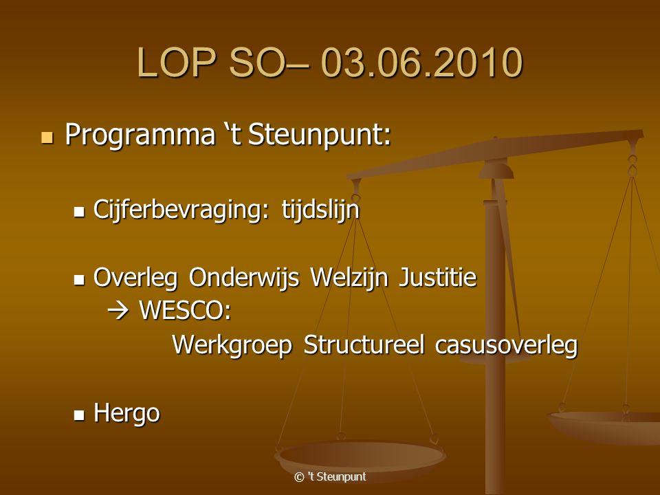 © 't Steunpunt LOP SO– 03.06.2010 Programma 't Steunpunt: Programma 't Steunpunt: Cijferbevraging: tijdslijn Cijferbevraging: tijdslijn Overleg Onderw