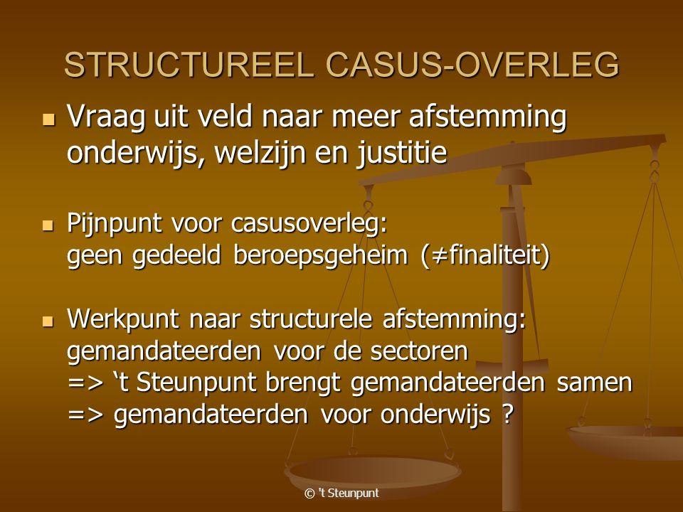 © 't Steunpunt STRUCTUREEL CASUS-OVERLEG Vraag uit veld naar meer afstemming Vraag uit veld naar meer afstemming onderwijs, welzijn en justitie Pijnpu