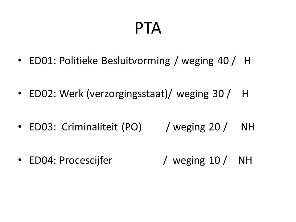 PTA ED01: Politieke Besluitvorming / weging 40 / H ED02: Werk (verzorgingsstaat)/ weging 30 / H ED03: Criminaliteit (PO) / weging 20 / NH ED04: Procescijfer / weging 10 / NH