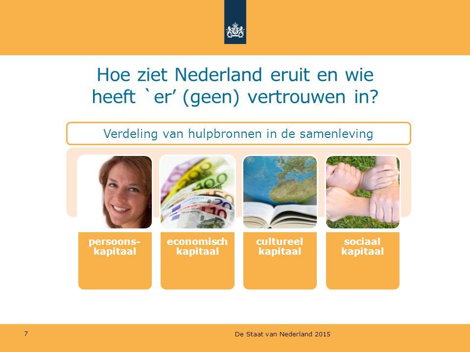 7 Hoe ziet Nederland eruit en wie heeft `er' (geen) vertrouwen in? Verdeling van hulpbronnen in de samenleving De Staat van Nederland 2015
